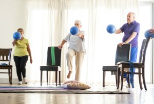 A strength and balance exercise class aimed at 60+ year olds